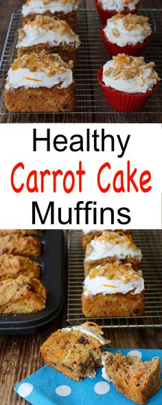 Healthy Carrot Cake Muffins - A little bite of carrot cake heaven - ZERO oil, ZERO refined sugar. Easy to make & delicious!