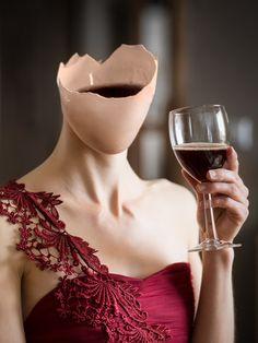 Drown my sorrows by Anna Winér Surrealism Photography, Conceptual Photography, Creative Photography, Portrait Photography, Photomontage, Art Van, 3d Foto, Art Optical, Woman Wine