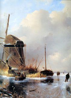 Charles Leickert - Een praatje op het ijs nabij een molen en ingevroren boot