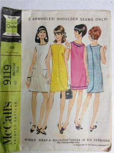 McCalls 9119 Misses 3 Armhole Wrap Arounder Dress Pattern Womens Vintage Sewing Pattern Size Medium Bust 32 34 OR Small B 30 31 Rick Rack, Mccalls Sewing Patterns, Vintage Sewing Patterns, Clothing Patterns, Fashion Patterns, Dress Patterns, Vestidos Vintage, Vintage Dresses, Vintage Clothing