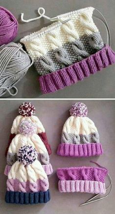 Cozy Cable Knit Hat - Free Pattern - Knitting is as easy as 3 The knitting . Cozy Cable Knit Hat – Free Pattern – Knitting is as easy as 3 Knitting boils down to thre Loom Knitting, Baby Knitting Patterns, Knitting Stitches, Crochet Patterns, Crochet Tutorials, Blanket Patterns, Knitting Machine, Crochet Ideas, Hand Knitting