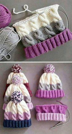 Cozy Cable Knit Hat - Free Pattern - Knitting is as easy as 3 The knitting . Cozy Cable Knit Hat – Free Pattern – Knitting is as easy as 3 Knitting boils down to thre Baby Knitting Patterns, Loom Knitting, Crochet Patterns, Crochet Slipper Pattern, Blanket Patterns, Knitting Machine, Hand Knitting, Knitting Projects, Crochet Projects
