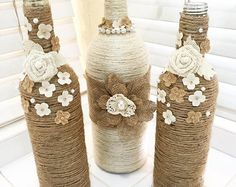 Rustic Burlap Centerpiece Bottle Vases, Wedding or Party Decor, SET of 5 - New ideas Glass Bottle Crafts, Wine Bottle Art, Diy Bottle, Twine Bottles, Wrapped Wine Bottles, Recycled Wine Bottles, Lighted Wine Bottles, Bottles And Jars, Twine Crafts