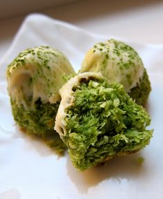 Matcha coconut macaroons dipped in white chocolate | Get Your Own Boutique Organic Matcha Today: http://amzn.to/262rVnp