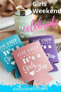 Plan the ultimate Girls Weekend Getaway with these girls trip beer can holders. Fun girls trip favor idea is perfect for a girls cruise. From a bachelorette party trip to a girlfriend trip or a girls beach weekend. Find bachelorette party favors and items for girls trip goodie bags. Oh Ship Its a Girls Trip can cozy in fun colors just for the ladies. Girl weekend ideas or girls road trip gifts. Add them to goodie bags to celebrate the special weekend. Visit daisylaneco.com to purchase today! Beer Wedding Gifts, Craft Beer Wedding, Lake Party, Beach Party, Gift For Friend Girl, Girls Weekend Gifts, Girls Trips, Bachelorette Party Planning, Birthday Weekend