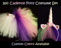 2pc CADENCE PONY Costume Set - Tutu Skirt w/ Bustle Tail & Unicorn Headband, Veil, Toddler, Princess Pony, mlp characters, Girls 2-6yrs