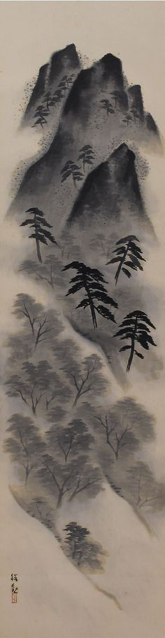 Early Summer Landscape by Ochi Shokan(1882-1958). Japanese hanging scroll painting kakejiku.