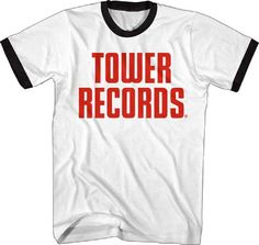 Our men's Tower Records t-shirt displays the logo to the classic record store chain. Founded in 1960, in Sacramento California, Tower Records operated stores, all over the world, until it closed in 2006. Tower was one of the most respected musical retail outlets and was the scene for numerous album signings and performances from the world's biggest bands. This retro inspired Tower Records logo tee is made from 100% white cotton with a black neck and sleeve ringer. #towerrecords #rockerrags