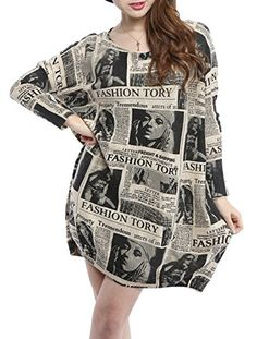 a7ecabc3f4412 ELLAZHU Women Baggy Newspaper Print Knit Pullover Dress Onesize Beige    Click image for more details.