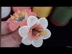 Needle lace making very fast progress calendula flower models made Mesh Ribbon, Ribbon Work, Embroidery Patterns Free, Knitting Patterns Free, Diy Flowers, Crochet Flowers, Flower Ideas, Silk Ribbon Embroidery, Hand Embroidery