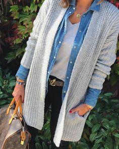 #jeanshemd #cardigan #layering (@zwillingsherz_fashion)