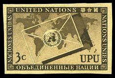 United Nations 1953 UPU, 3c black brown,