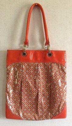 Vera Bradley Paprika Frill SOI Shoulder Tote Bag Vinyl Plastic Orange Retired #VeraBradley #TotesShoppers