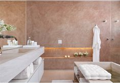 Piso do banheiro em limestone