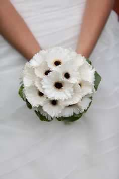 Wedding bouquet gerbera's, flowers, white wedding