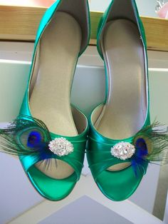 Peacock Emerald Green Shoes 35 Heel Peacock Wedding by Parisxox, $144.00