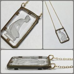 A lovely Grecian inspired pressed glass and brass Pendant from the 1920s. $68.