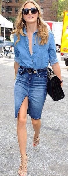 OP jeans skirt with denim top works done this way and dressed UP with funky but low key accessories.