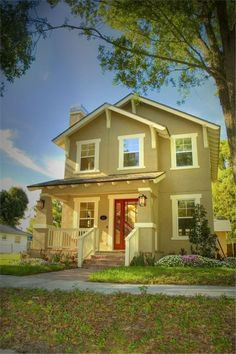 tan siding white trim red door | Beige siding, white trim, black shutters, red door - our home!
