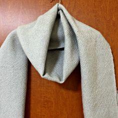 Handwoven Scarf, Very soft 100% Baby Alpaca, Grayish Beige, Chic and Plain
