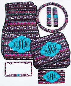 Elephant Aztec Tribal Car Accessories MIX AND MATCH Personalized Car Mats Steering Wheel Cover License Plate & Frame Seat Belt Covers