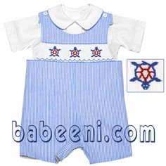 Babeeni smocked dress for baby girl:  Lovely with two straps on the shoulder.  Impressive with the hand smocking embroidery  patterns (three small national flag of America) on the bodice.  Comfortable with qualified fabric  This smocked dress is a first choice for baby girls on Independence Day  http://babeeni.com