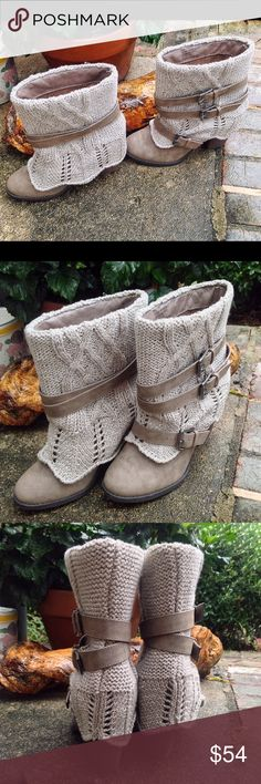 "PRICE FIRM NAUGHTY MONKEY romantic Booties BOOT 10 Manmade Imported Synthetic sole Shaft measures approximately 7.5"" from arch Heel measures approximately 3"" Boot opening measures approximately 12.25"" around Ankle-high boot with faux-leather upper featuring cozy cable-knit overlay with multiple straps. NEW WITHOUT BOX Anthropologie Shoes Ankle Boots & Booties"