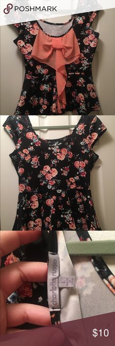 Black and coral floral peplum Worn once. Is cute worn with bow in the front or back Charlotte Russe Tops