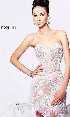 Embellished Short Strapless Sweetheart Dress at PromGirl.com