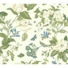 """York Wallcoverings Williamsburg Garden Images 27' x 27"""" Floral and Botanical Wallpaper Color: Cream"""