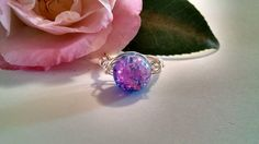 Sale Pink and Blue Irridescent Glass Bead White Wire Wrapped Ring Size 8 Unique Handmade Jewelry Gifts for Her Fun Unique Ring Best Friends