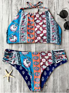 Patchwork Print High Neck Bikini Set - FLORAL M