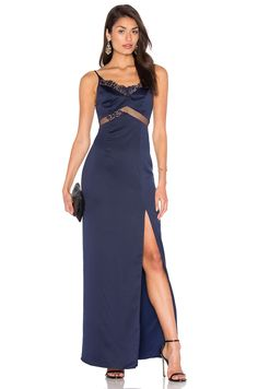 NBD x REVOLVE Saint Gown in Navy & Black Lace