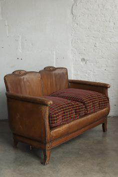 Retrouvius loveliness - leather sofa with Routemaster bus seat fabric Two Seater Leather Sofa, Routemaster, Management Styles, Farmhouse Furniture, Fabric Sofa, Restaurant Design, Upholstery, Sweet Home, New Homes