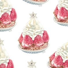 Strawberry dessert in watercolour by - food illustration Dessert Illustration, Pastry Art, Strawberry Desserts, Strawberries And Cream, Food Illustrations, Food Art, Painting & Drawing, Packaging Design, Art Gallery