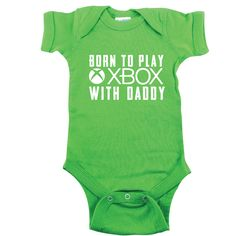 Green Baby Bodysuit Born to Play Xbox With by SingleAndTwinShirts Funny Baby Clothes, Funny Babies, Babies Clothes, Boy Babies, Babies Stuff, Baby Boy Outfits, Kids Outfits, Gamer T Shirt, Everything Baby