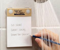 Are you a deep thinker in the shower, coming up brilliant ideas but never being able to write them down? Now you can think up tons of great ideas in the shower and capture them with these waterproof notepads. Each pad includes forty waterproof blank slates.