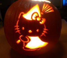 Hello Kitty carved witch jack o'lantern pumpkin