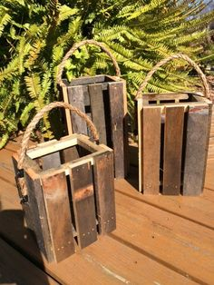 Lantern Candle Holder Set of 3 Reclaimed Pallet Candle Lantern Candle Holders, Candle Holder Set, Candle Lanterns, Candleholders, Small Lanterns, Rustic Lanterns, Scrap Wood Projects, Diy Pallet Projects, Rustic Shed