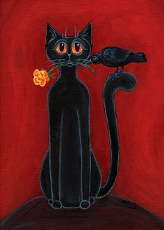 Black Cat, Crow and a Yellow Rose by Pet Art Melinda