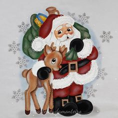 Santa Claus and Rudolph the Red Nosed Reindeer Santa Crafts, Christmas Crafts To Make, Christmas Rock, Christmas Scenes, Christmas Colors, Christmas Projects, Christmas Decorations, Christmas Ornaments, Easy Christmas Drawings