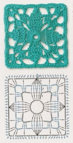 Transcendent Crochet a Solid Granny Square Ideas. Inconceivable Crochet a Solid Granny Square Ideas. Crochet Motifs, Granny Square Crochet Pattern, Crochet Blocks, Crochet Diagram, Crochet Stitches Patterns, Crochet Chart, Crochet Squares, Knitting Patterns, Crochet Doilies
