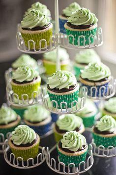 Mint chocolate mini cupcake tower #wedding #weddingcupcakes #minicupcakes #mint #cupcaketower