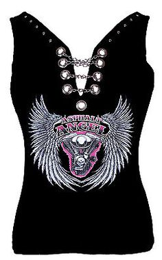 Womens sexy Asphalt Angel Wings Lady Biker halter tank top with chains studs