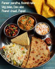 Duma aloo, veg pulao, paneer paratha, boondi raita, peanut chaat, papad, pickle - Lunch menu 52
