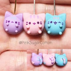 Hi everyone! Here are the Pastel Pusheen finished! I decided to make all three colors and give them different expressions  What's your favorite?  #claycharms #polymerclay #pusheen #pastelpusheen #pusheenkawaii #cute #cuteclay #kawaii #kawaiiclay #kawaiicharms #handmade #pinksugarcotton