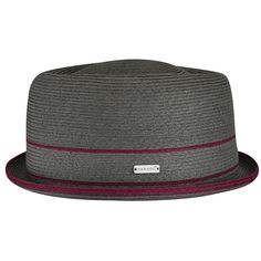 The Fine Braid Pork Pie has an oval indented crown & up turned brim. It is made from thin woven strips joined together creating concentric lines with contrast colour stripes to represent the band & on the brim edge. The Kangol® logo is a small metal pin. Mens Dress Hats, Gentleman Hat, Vintage Fashion 1950s, Vintage Hats, Victorian Fashion, Pork Pie Hat, Types Of Hats, News Boy Hat, Cool Hats