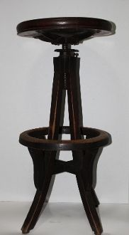 Antique Wood Bank Tellers Swivel Stool, First National Bank Minn