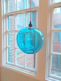 EXTRA LARGE Aqua  Poppy Hanging Art Glass Pendant Globe Light by Rebecca Zhukov on Etsy, $900.00