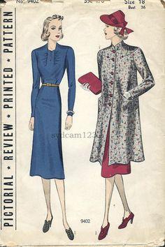 Vintage 1930s Ensemble Dress Gathered Bodice by sydcam123 on Etsy, $34.00